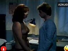 F Benussi in black satin panties stripped by male, 1976 movie