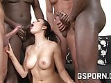 Natural brunette for anal dildo and group sex