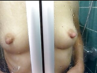 Mature with long nipples in the shower