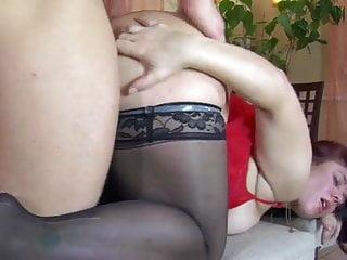 In stockings sucks then recieves anal fucking...