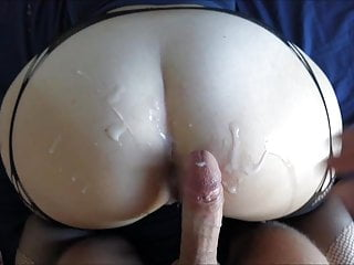 Bf cums all over big white booty...