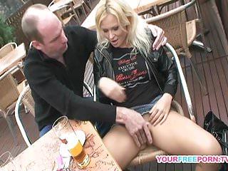 Horny couple fucking on public bench...