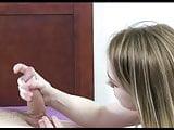 Cute little dirty blonde giving hot handjob