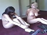 Ziptied pair barefoot naked escape