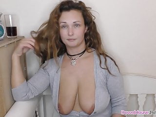 With downblouse showing natural tits...