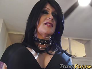 Brunette Mature Shemale With Big Boobs Jerking It Hard