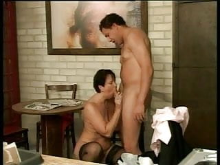 Mature cleans his cock good