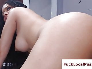Curvy latina with dripping wet pussy fucks live