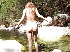 Beautiful Girl Masturbating Cum in the Woods Small River