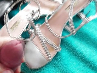 Cumming of wife's wedding sandals