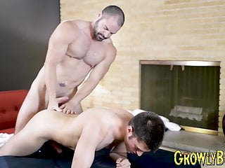 Daddy pins his lover down and fucks hard...