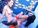 two nice lesbian girls with a double dildo play