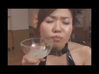JAV Girl drinks 19 loads from glass