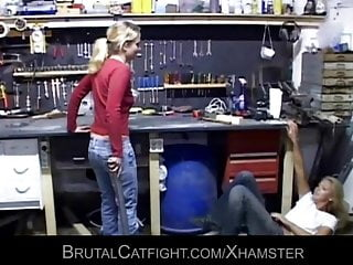 Two girls are fighting like crazy one...