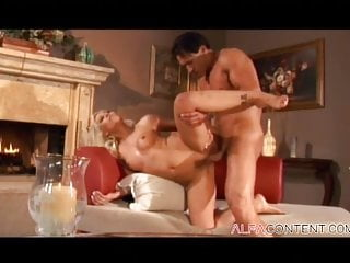 Blonde milf takes hard cock in her pussy and ass