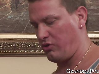 Granny gets cum all over her face and...