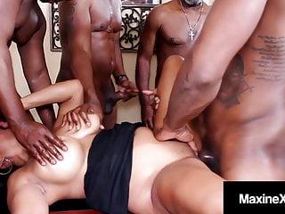 Oriental orgy x butt fucks with 6 black...